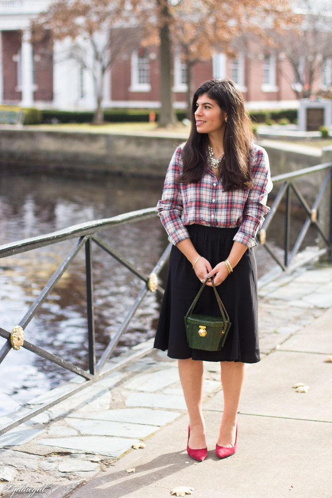 plaid shirt, pearl necklace black midi skirt, red pumps-1.jpg