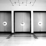 Türen im Hauptgebäudes des Bauhaus Dessau Ensemple - analog, S/W, 6x6