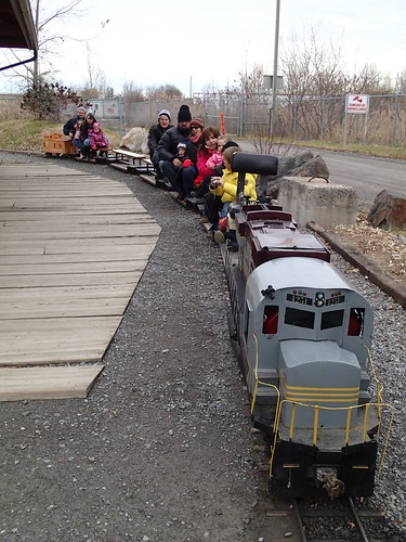Aboard the toy train