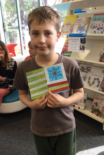 Matthew and his finished card