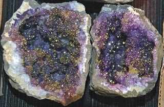 Fake geode - chalcopyrite on amethyst (Morocco) 1