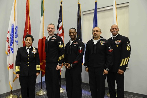 Fri, 01/27/2017 - 10:49 - 170127-N-SS492-702 NAVAL SUPPORT ACTIVITY NAPLES, Italy (Jan. 27, 2017) From left to right: Commander, U.S. Naval Forces Europe-Africa, Adm. Michelle Howard; U.S. Naval Forces Europe-Africa Sea Sailor of the Year, Intelligence Specialist 1st Class Kevin Pulley; U.S. Naval Forces Europe-Africa Shore Sailor of the Year, Hospital Corpsman 1st Class Kenneth Terrell; U.S. Naval Forces Europe-Africa Junior Sailor of the Year Yeoman 2nd Class Eric Horne and U.S. Naval Forces Europe-Africa Fleet Master Chief Raymond D. Kemp Sr. pose for a photo at the Commander, U.S. Naval Forces Europe-Africa Sailor of the year ceremony Jan. 27, 2017.  U.S. Naval Forces Europe-Africa, headquartered in Naples, Italy, oversees joint and naval operations, often in concert with allied, joint, and interagency partners, to enable enduring relationships, and increase vigilance and resilience in Europe and Africa. (U.S. Navy photo by Chief Mass Communication Specialist Brian P. Biller/Released)