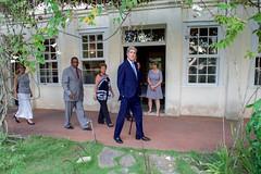 U.S. Secretary of State John Kerry walks along the veranda at Finca Vigia - author Ernest Hemingway's former home in San Francisco de Paula, Cuba - during a tour on August 14, 2015. [State Department photo/ Public Domain]
