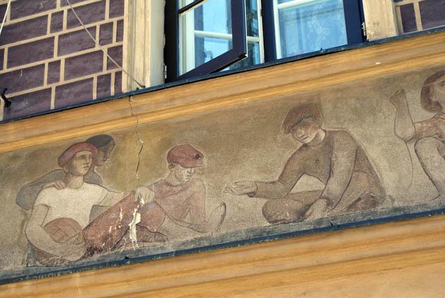 Vieille Ville de Varsovie : Fresque des années... 1950.