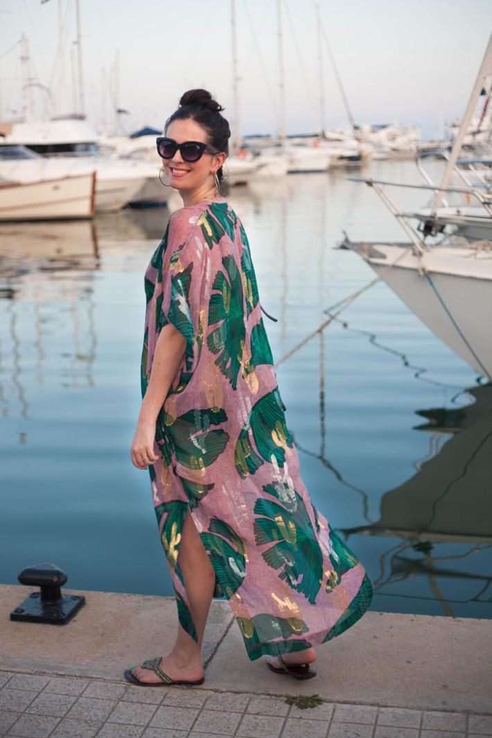 outfit; silk kaftan in Juan Les Pins harbor