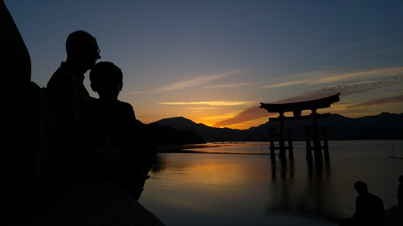 S and E, sunset on Miyajima