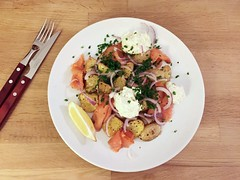 smoked salmon, roasted potatoes, horseradish cream…