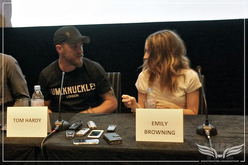The Establishing Shot: LEGEND PRESS CONFERENCE - STARS TOM HARDY & EMILY BROWNING CHAT - SOHO HOTEL, LONDON