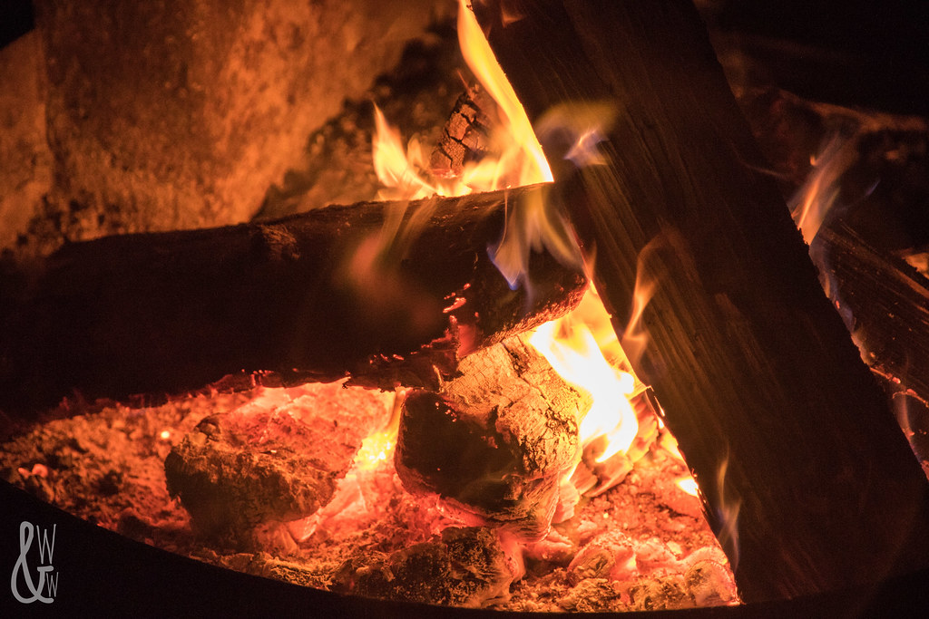 winter camping fire