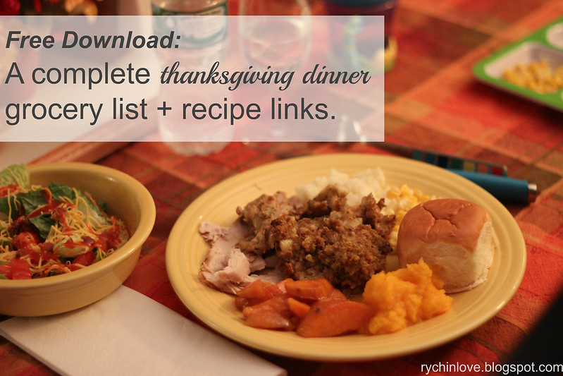 Thanksgiving Grocery List Printable