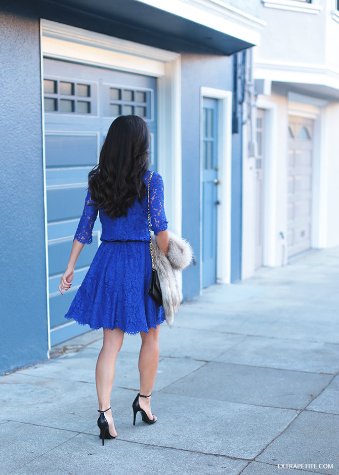 nordstrom petites blue fit flare lace dress