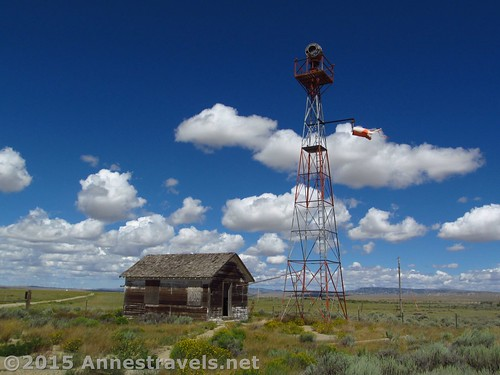 The beacon tower and generator shed at the Medicine Bow Aircraft Arrow, Wyoming