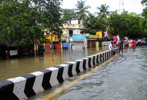 As rainwater stagnated in most pockets due to want of un-encroached drainage paths, the South of the city went under mainly because of the Adyar river water breaching its banks