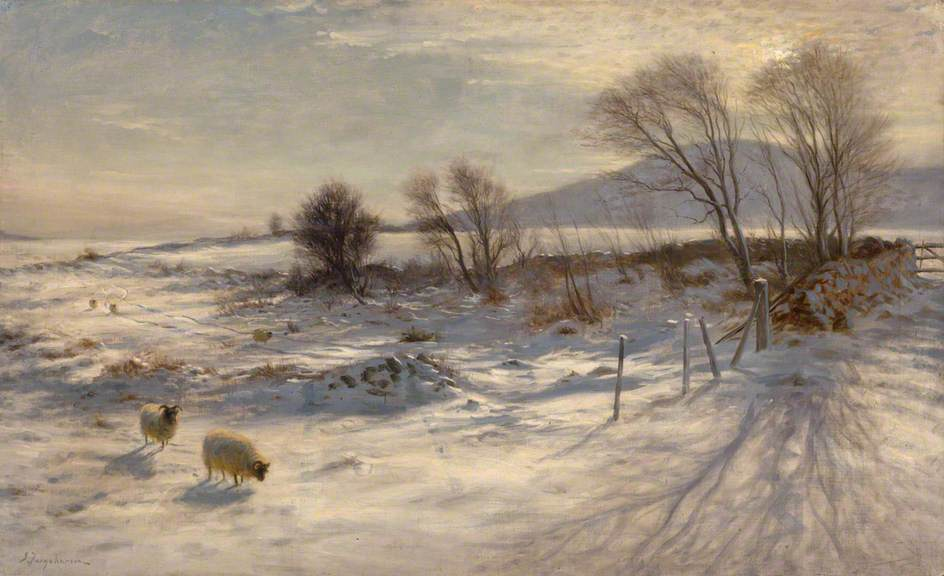 When snow the pasture sheets by Joseph Farquharson, 1915