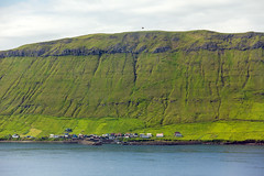 View over to the island Hestur from Velbastaður, Faroe Islands