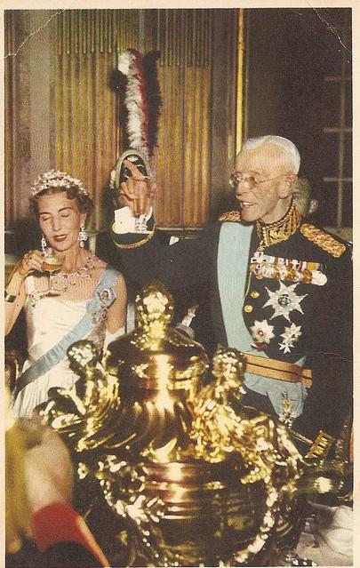 Queen Ingrid of Denmark with her GRandfather King Gustaf Adolf V. of Sweden