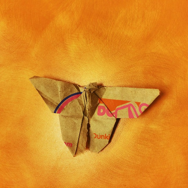 Origami butterfly made from Dunkin Donuts bag