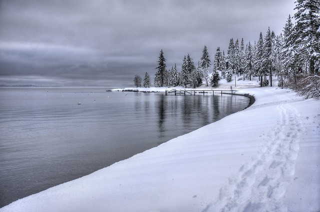 Serene beauty of Lake Tahoe winter