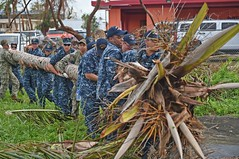 Sailors from USS Ashland (LSD 48) move a fallen coconut tree during a community service project at Garapan Elementary School in Saipan after Typhoon Soudelor. (U.S. Navy/MC3 David A. Cox)