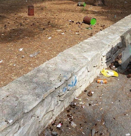 Casamassima- Questa invece è opera dei vandali che hanno inventato un nuovo sport, il lancio dei cestini