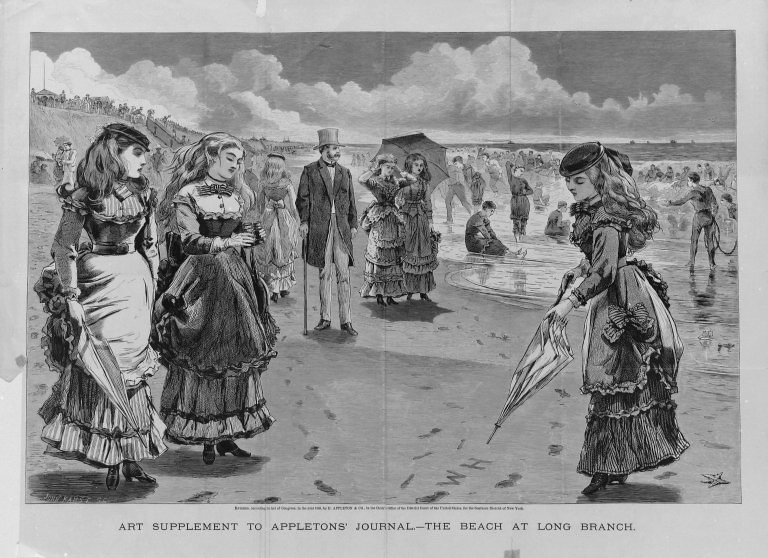 The Beach at Long Branch - wood cut illustration by Winslow Homer (1869)