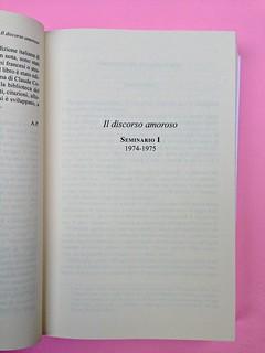 Roland Barthes, Il discorso amoroso. Mimesis 2015. Pagina del titolo di una parte del testo, a pag. 59 (part.), 1
