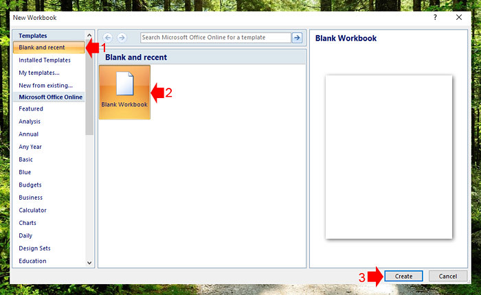Creating a new workbook in Excel 2007 step 2