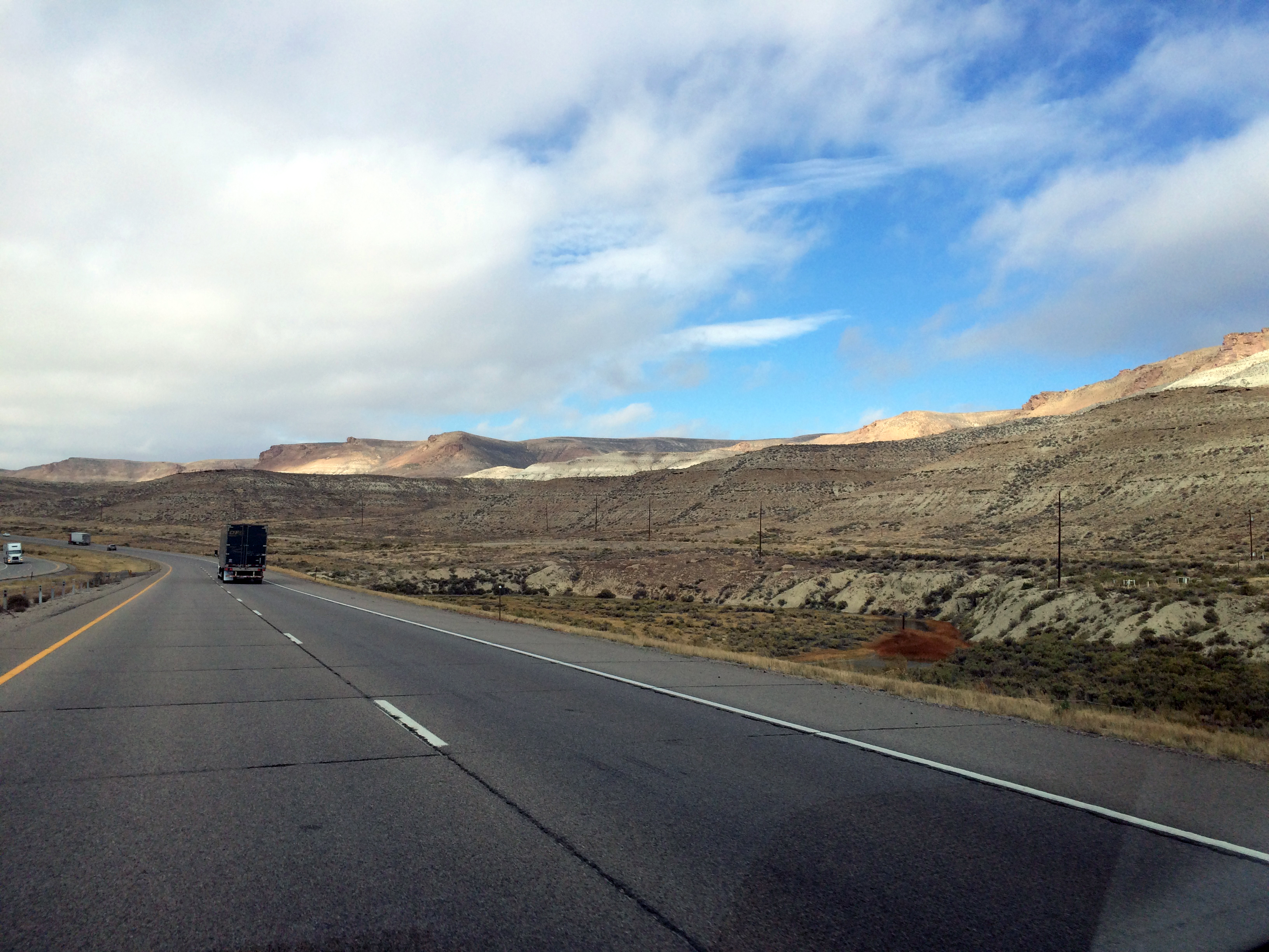 Panorama Showing Castle Rock at RIght Green River, WY
