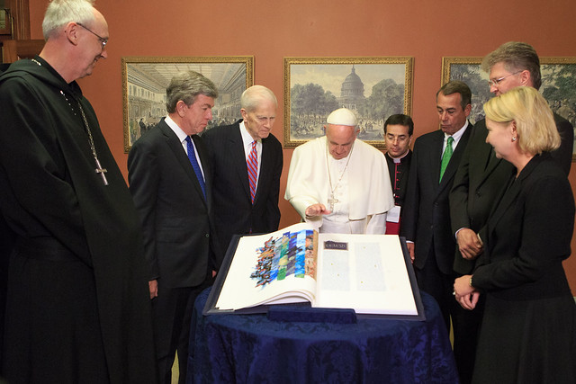 Pope Francis blesses a rare Apostles Edition of the Saint John's Bible given to the Library of Congress from Saint John's Abbey and University.