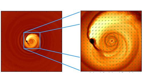 Simulación de la fusión de agujeros negros