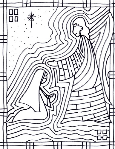 5 Coloring Sheets For Christmas The Annunciation