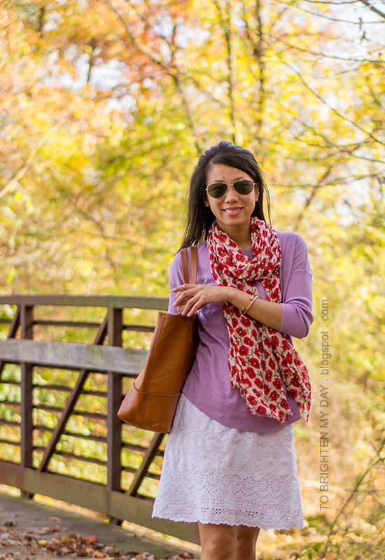 floral scarf, lilac sweater, white eyelet dress, rose gold jewelry, cognac brown tote