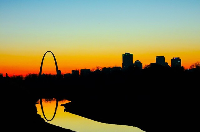 Arch Reflection at Sunset