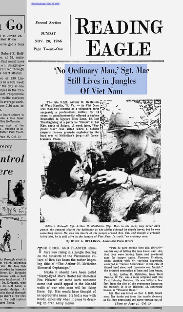 'No Ordinary Man,' Sgt. Mac Still Lives in Jungles Of Vietnam - Reading Eagle - Nov 20, 1966