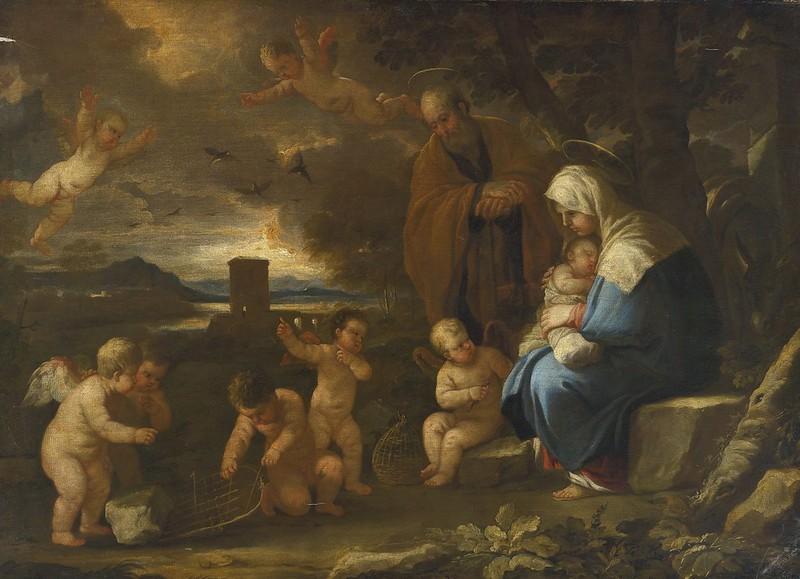 Luca Giordano, called Fa Presto - The Holy Family with Putti making birdcages in a landscape