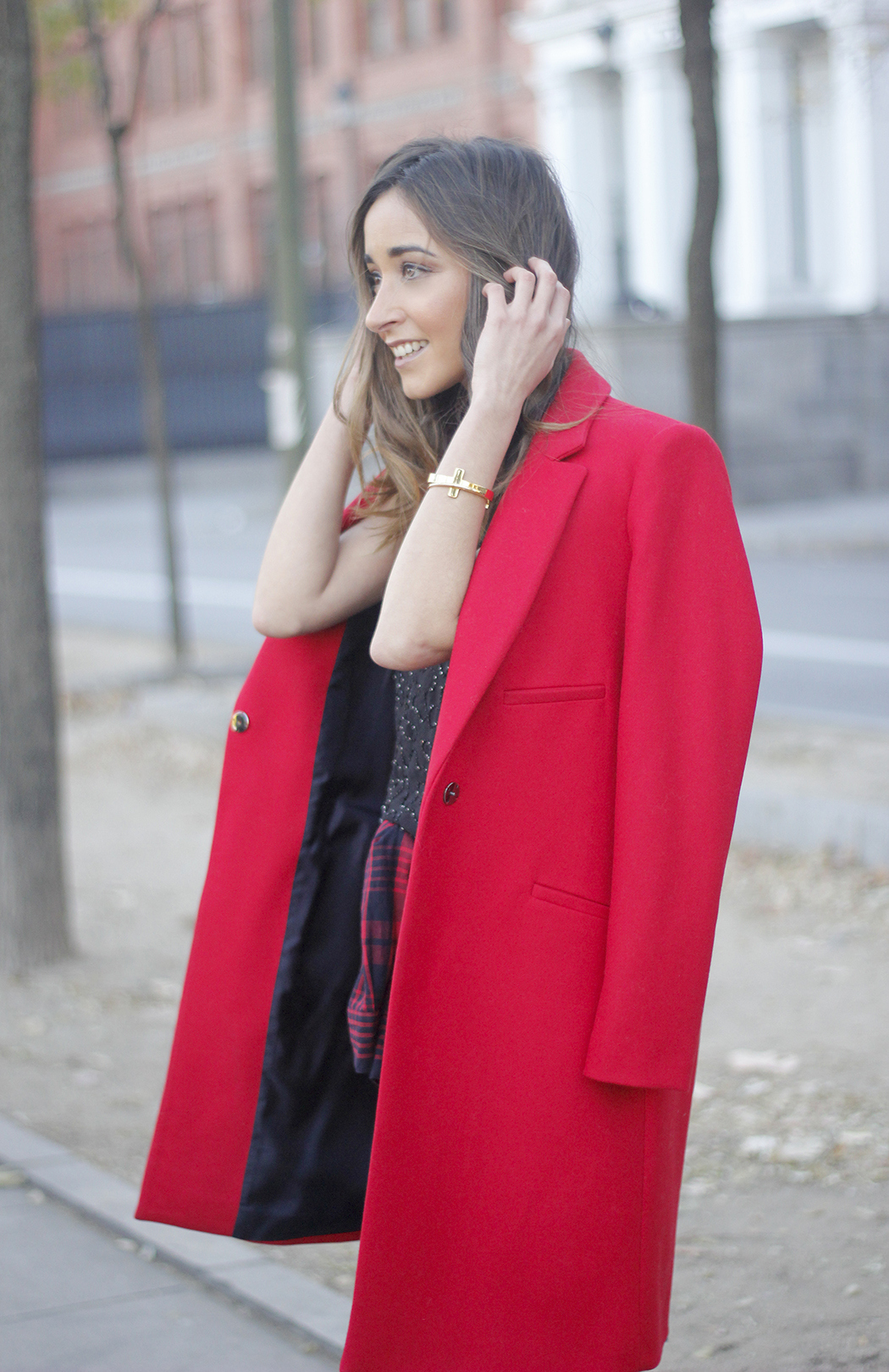 Red Coat With Party Black Dress Mango Outfit Style 19