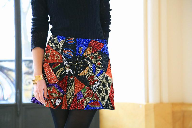 jupe de soiree motif patchwork