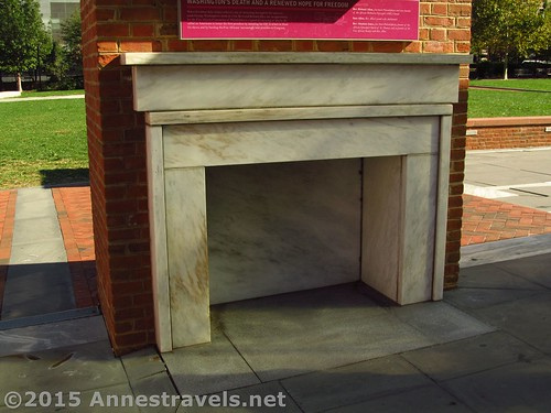 Fireplace replica outside the Liberty Bell Center, Independence National Historic Site, Pennsylvania