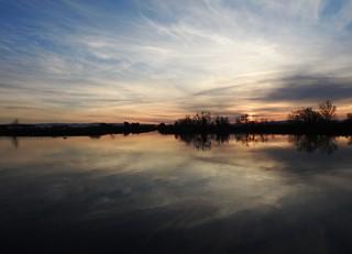 Deep Water Channel, Stockton, California.  Sunset.