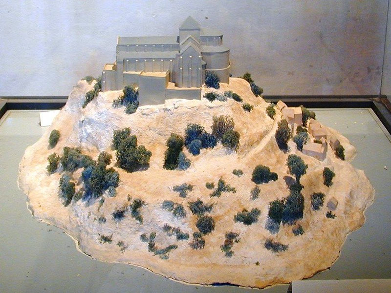 Model of Mont Saint Michel Abbey in 11th century