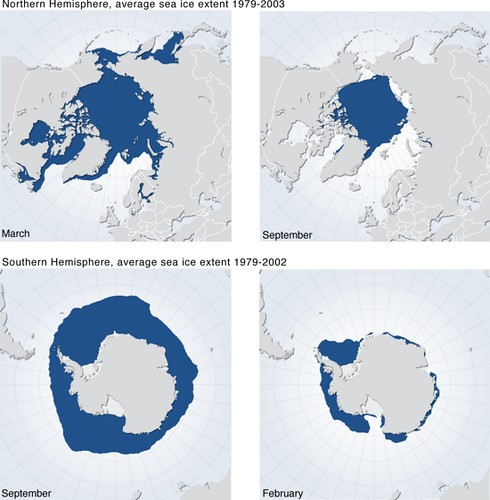 Maps Of Average Sea Ice Extent In The Arctic Summer
