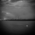 Energy by Night... #green #energy #river #hamburg #wind #greenenergy #blackandwhite #black #white #contrast #water #clouds #night #photo #nikon #germany #igers #photography #picture #followme #follow4follow #follow #followforfollow #picture #photooftheday