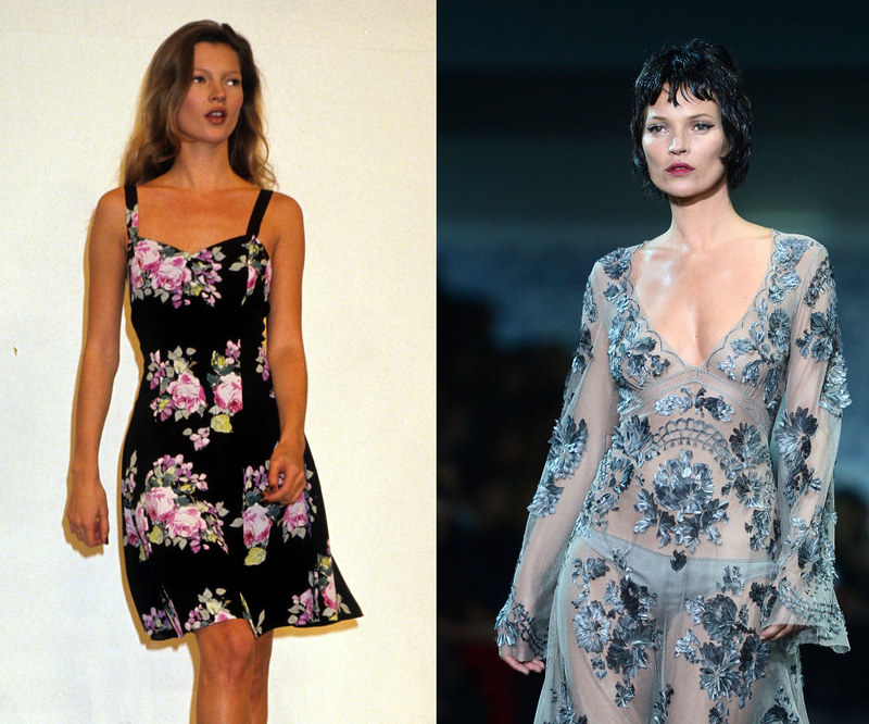 KATE MOSS - At a Ralph Lauren presentation in 1993, and the Louis Vuitton Fall/Winter 2013 show.