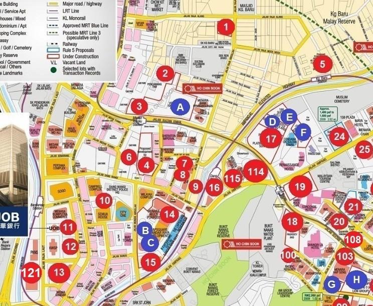 Map of Kuala Lumpur downtown.