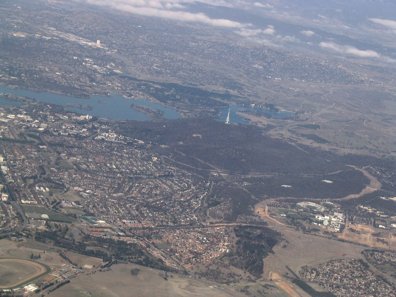 Canberra from the air, August 2005