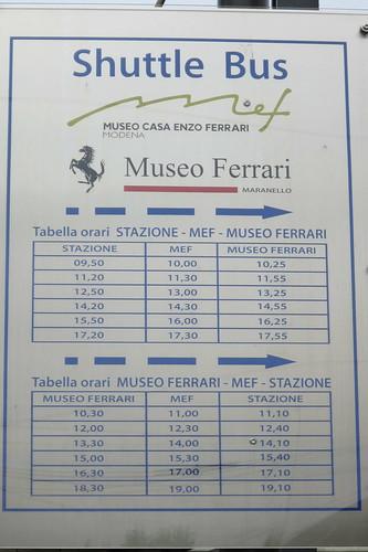 Museo Ferrari Shuttle Bus Timetable