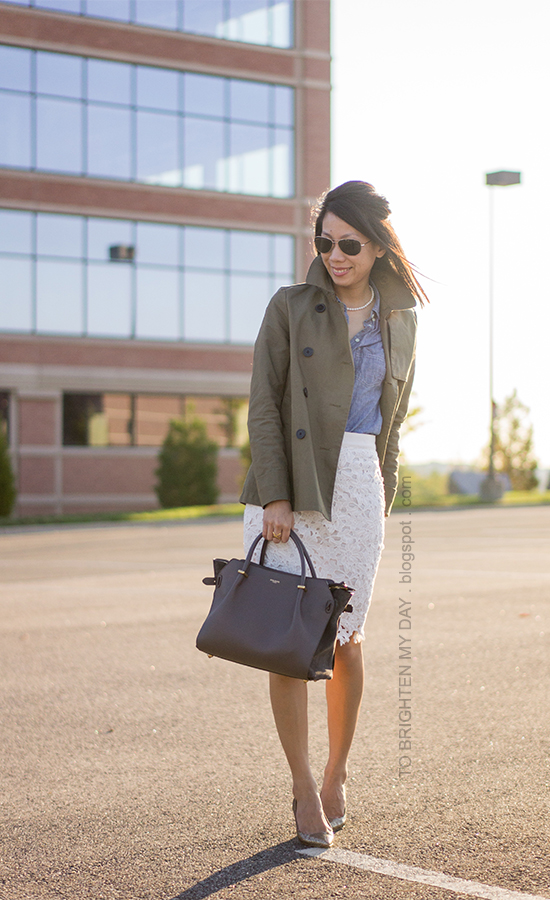 green swing trench jacket, chambray shirt, lace pencil skirt, glitter pumps