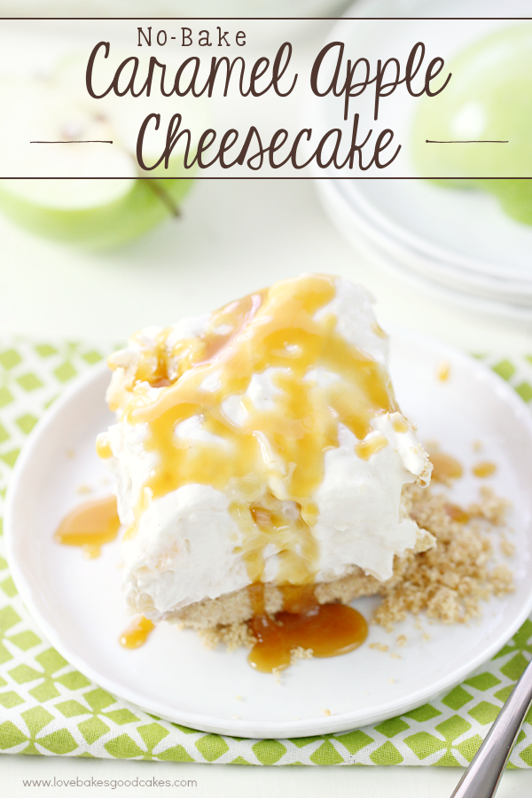No-Bake Caramel Apple Cheesecake on a plate with a fork.