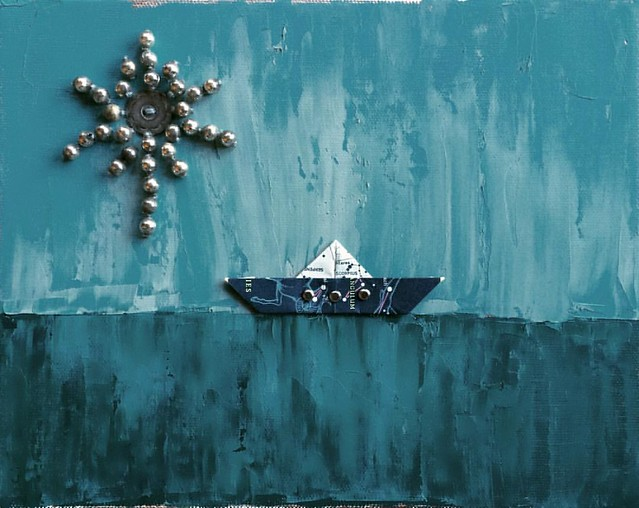 Little Boat Under a Full Moon #art #paintings #mixedmedia #paperboats