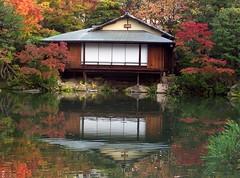 Japan (Kobe-Sorakuen Garden) Tea House and its reflection1